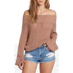 Billabong Juniors Rolled Up Off The Shoulder Sweater