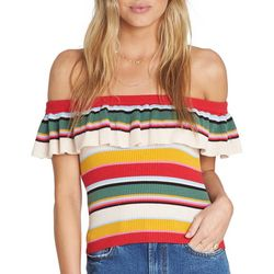 Billabong Juniors Take A Trip Stripe Off The Shoulder Top