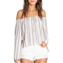 Billabong Juniors Light It Up Stripe Off The Shoulder Top