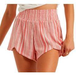 Juniors Smocked Waist Striped Shorts