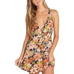 Billabong Juniors Knotted Heart Tropical Floral Mini Dress