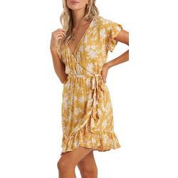 Juniors Floral Wrap Ruffled Dress