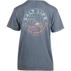 Juniors Pocketed Back Screen T-Shirt