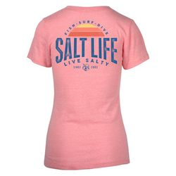 Salt Life Juniors Sunbeam Logo Graphic V-Neck T-Shirt
