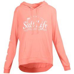Salt Life Juniors Palm Tree Logo Long Sleeve Hooded Top