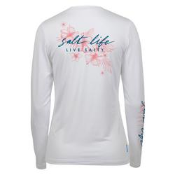 Juniors Live Salty Logo Long Sleeve Top