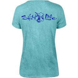 Salt Life Juniors Hibiscus Logo Short Sleeve T-Shirt