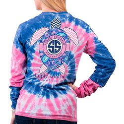 Simply Southern Juniors Tie Dye Turtle Long Sleeve Top