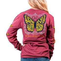 Juniors Long Sleeve Butterfly T-Shirt