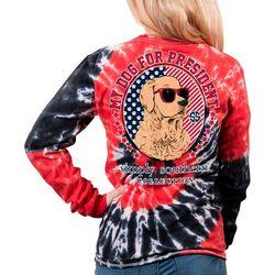 Juniors Tie Dye My Dog For President T-shirt