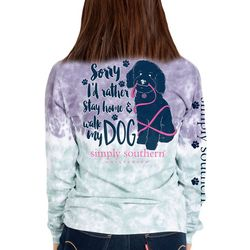 Simply Southern Juniors Walk My Dog Long Sleeve Tee