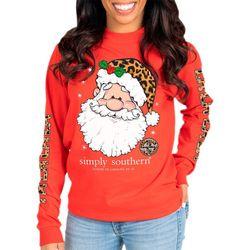 Juniors Leopard Santa T-Shirt