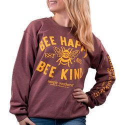 Simply Southern Fleece Bee Happy Bee Kind Sweatshirt
