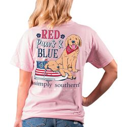Simply Southern Juniors Red Paws & Blue T-Shirt