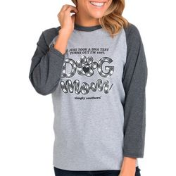 Juniors Dog Mom Raglan Tee