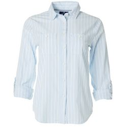 Sperry Juniors Striped Button Down Roll Tab Sleeve Top