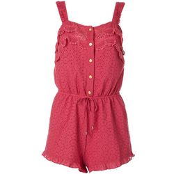 Juniors Solid Eyelet Button Down Romper