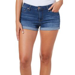 Dollhouse Juniors Whiskered Roll Cuff Denim Shorts