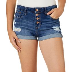 Dollhouse Juniors Destructed Button-Fly Denim Shorts