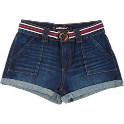 Dollhouse Juniors Belted Cuff Denim Shorts