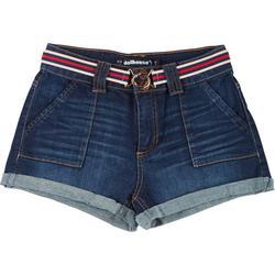 Juniors Belted Cuff Denim Shorts