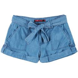 Juniors Belted Roll Cuff Chambray Shorts