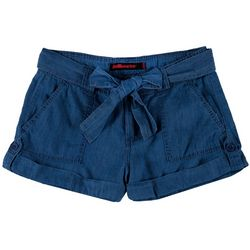 Dollhouse Juniors Belted Roll Cuff Chambray Shorts