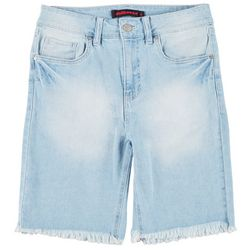 Dollhouse Juniors Solid Denim Bermuda Shorts
