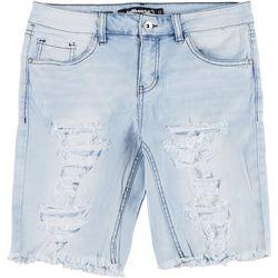 Dollhouse Juniors Distressed Denim Bermuda Shorts