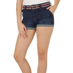 Dollhouse Juniors Belted Whiskered Roll Cuff Denim Shorts