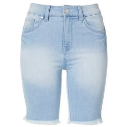 Juniors Solid Denim Roll Cuff Bermuda Shorts