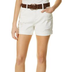 Dollhouse Juniors Belted Destructed White Denim Shorts