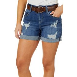 Juniors Belted Destructed Denim Shorts