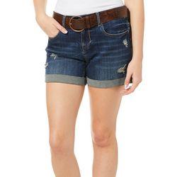 Dollhouse Juniors Belted Roll Cuff Denim Shorts