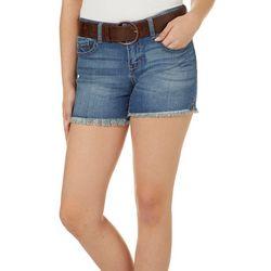 Dollhouse Juniors Belted Frayed Hem Shorts