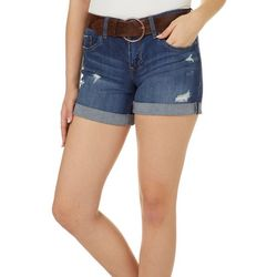 Dollhouse Juniors Belted Distressed Roll Cuff Denim Shorts