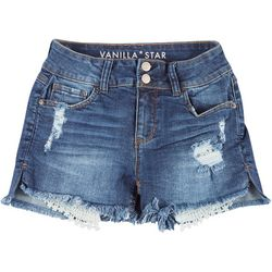 Juniors Mid Rise 2-Button Denim Shorts