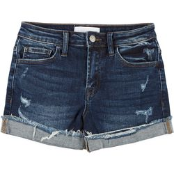 Flying Monkey Juniors Mid Rise Roll Cuff Denim Shorts