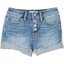Juniors Mid Rise Button Fly Denim Shorts