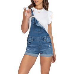 Juniors Roll Cuff Denim Shortalls