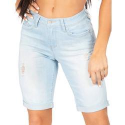 Juniors WannaBettaButt Roll Cuff Solid Bermuda Shorts