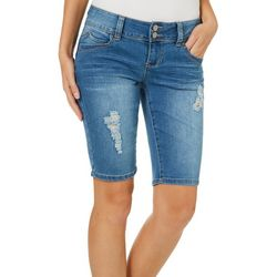 YMI Juniors WannaBettaButt Distressed Denim Bermuda Shorts