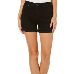 YMI Juniors WannaBettaButt Solid Roll Cuff Denim Shorts