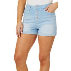 YMI Juniors Roll Cuff Button Fly Denim Shorts