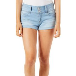 YMI Juniors WannaBettaButt Faded Roll Cuff Denim Shorts