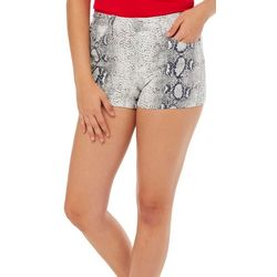 YMI Juniors High Rise Snake Skin Print Denim Shorts