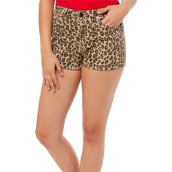 YMI Juniors High Rise Leopard Print Denim Shorts