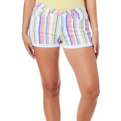 YMI Juniors High Rise Vertical Stripe Roll Cuff Denim Shorts