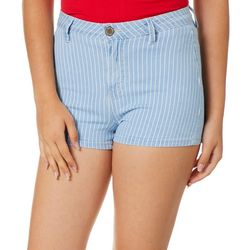 YMI Juniors High Rise Striped Denim Shorts
