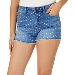 YMI Juniors Love Yourself Polka Dot Denim Shorts